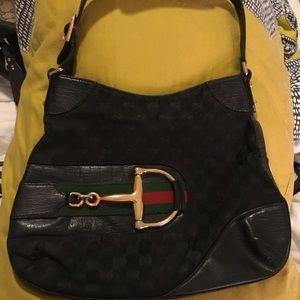 Gucci Black Half Horsebit Shoulder Bag